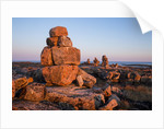 Stone Cairns in Arctic, Nunavut Territory, Canada by Corbis