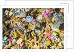 Love locks at Pont de l'Archeveche, near Notre Dame Cathedral by Corbis