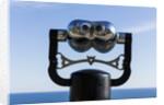Binoculars overlooking Mediterranean Sea in Vernazza, Cinque Terre, Italy by Corbis