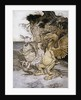 Illustration of Alice Sitting Down Next to Two Creatures by Arthur Rackham