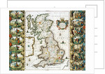 Map of Great Britain Surveyed by John Speed and Engraved by Jocodus Hondius by Corbis