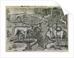 Engraving by Theodor de Bry After Stag Hunting by Jacques Le Moyne