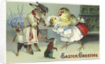 Easter Greeting Postcard Depicting a Rabbit and Chick Family by Corbis