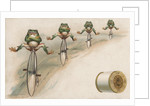 J & P Coats Trade Card of Frog Cyclists by Corbis