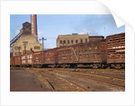 Train Freight Cars Entering Shipping Yard by Corbis
