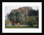 Boy and Dog Looking at Lake by Corbis