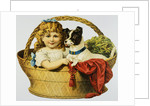 Illustration Depicting a Girl and A Dog in a Basket by Corbis