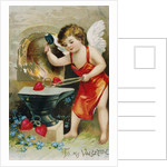 To My Valentine Postcard with Cupid at a Forge by Corbis