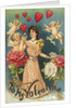 To My Valentine Postcard with Cupids and a Woman by Corbis