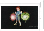 Postcard of Boy Carrying Paper Lanterns by E. Colombe