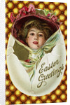 Easter Greetings Postcard of a Woman with a Pink Hat by Corbis