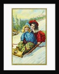 Postcard of Two Girls on a Toboggan by Corbis