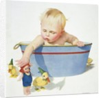 Illustration of a Young Child Playing with Bath Toys by E.N. Donaldson