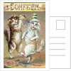 Confetti Postcard with Dancing Cats by Corbis