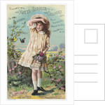 Hoyt's German Cologne Trade Card with a Girl and Butterflies by Corbis