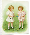 Illustration of Little Girls with Easter Eggs by Ida Waugh