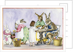 Illustration of a Girl Decorating Eggs with Giant Rabbit Family by Alexandra Day