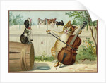 Trade Card of a Cat Playing a Cello with a Howling Dog by Corbis