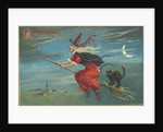 Hallowe'en Postcard with Flying Witch by Corbis