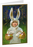 Joys of Easter Postcard with a Child in a Bunny Suit by Corbis