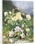 A Still Life of Pink and Yellow Roses by Alexandre Debrus