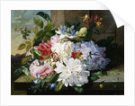 A Pretty Still Life of Roses, Rhododendron, and Passionflowers by John Wainwright