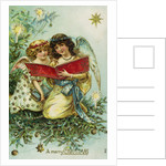 A Merry Christmas Postcard with Two Angels by Corbis