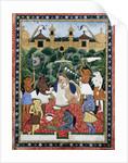 19th-Century Indian Painting of the Wife of Rajah Ramchanderjee In Rawan's Garden by Corbis