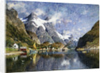 A Norwegian Fjord Painting by Adelsteen Normann