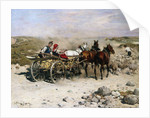 A Haycart, a Shepherd and His Flock on a Country Lane by Alfred von Kowalski-Wierusz