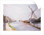 A Riverside Village with Windmills by Lesser Ury