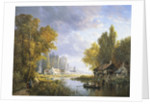 A River Scene in France by Charles Euphrasie Kuwasseg
