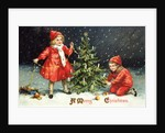 A Merry Christmas Postcard with Two Children Decorating Tree by Corbis