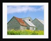 Row of Old Shingle Barns in Field by Corbis