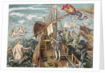 Engraving of Christopher Columbus Standing on His Ship by Corbis