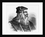 Etching of Leonardo da Vinci by Corbis
