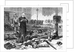 Woodcut Illustration of Priest Giving Last Rites to Soldiers by Corbis