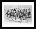 The Cowboy's Race Woodcut by Corbis