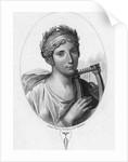 Engraved Portrait of Sappho, Greek Lyric Poet by Corbis