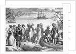Henry Hudson Descending the Hudson River Illustration by Corbis