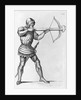 Engraving of a Knight Aiming a Crossbow by L. Massard