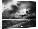 Explosion Of Ship In Pearl Harbor Attack by Corbis