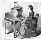 19th-Century Woodcut of a Young Woman Typing by Corbis