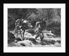 Frontiersman Walking Blindfolded Horse;Engraving by Corbis
