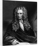 Engraving of Sir Isaac Newton Seated at a Table by Corbis