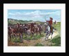 Engraving of Cowboys & Cattle by Frederick Remington