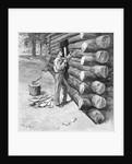 Man Working On Log Cabin Full Length by Corbis