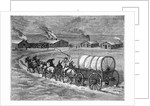 Covered Wagon Approaching Log Cabins by Corbis