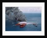 Fireboats Spraying Burning Mega Borg Tanker by Corbis