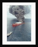 Dark Smoke Rising from Burning Mega Borg Oil Tanker by Corbis